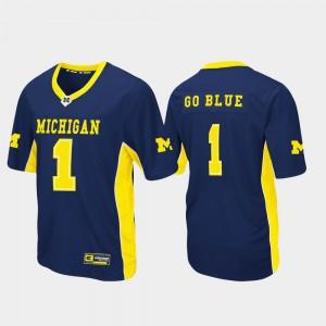 Navy Max Power Men's #1 Football Michigan Jersey 262053-603