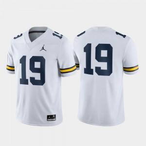 White Michigan Jersey #19 Game Men 779225-879