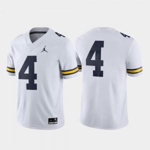 Game White Men's #4 Michigan Jersey College Football 937726-883