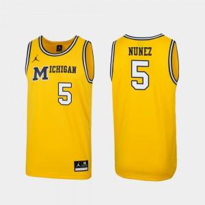 Adrien Nunez Michigan Jersey 1989 Throwback College Basketball Replica #5 Maize Men's 742833-945