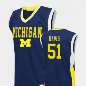 Mens Austin Davis Michigan Jersey Blue #51 College Basketball Fadeaway 992193-121