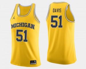 Maize Austin Davis Michigan Jersey #51 College Basketball Men's 163871-142