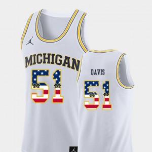 White College Basketball Austin Davis Michigan Jersey USA Flag Men #51 295230-641