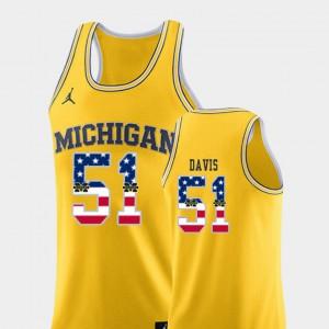 Men USA Flag Austin Davis Michigan Jersey #51 Yellow College Basketball 350451-622