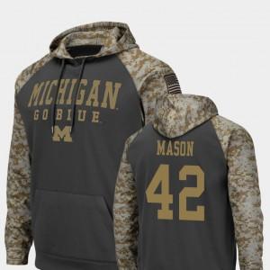 #42 Charcoal Colosseum Football Ben Mason Michigan Hoodie Men's United We Stand 466843-453
