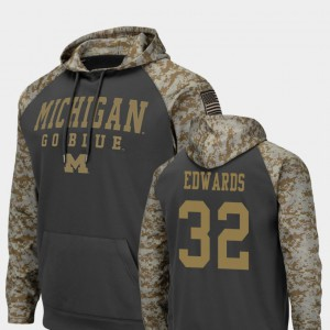 United We Stand Berkley Edwards Michigan Hoodie Colosseum Football For Men Charcoal #32 797469-951