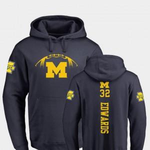 Navy Berkley Edwards Michigan Hoodie Men's College Football Backer #32 838890-820