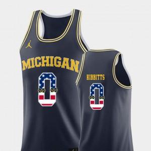 USA Flag Navy Brent Hibbitts Michigan Jersey #0 College Basketball Men's 344883-728