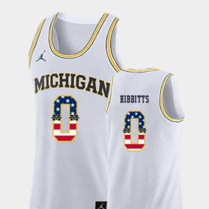 Brent Hibbitts Michigan Jersey White #0 College Basketball For Men USA Flag 564606-234