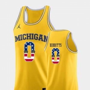 Brent Hibbitts Michigan Jersey College Basketball Yellow Men USA Flag #0 524354-985