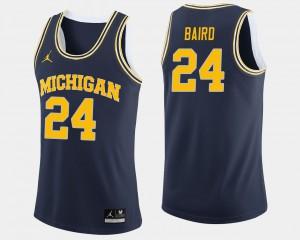 College Basketball C.J. Baird Michigan Jersey For Men Navy #24 441139-740