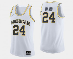 Mens C.J. Baird Michigan Jersey White #24 College Basketball 427806-490