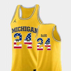 USA Flag College Basketball Yellow C.J. Baird Michigan Jersey #24 Men 698390-241