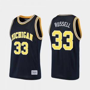 Alumni #33 Cazzie Russell Michigan Jersey Navy Basketball Men 338226-362