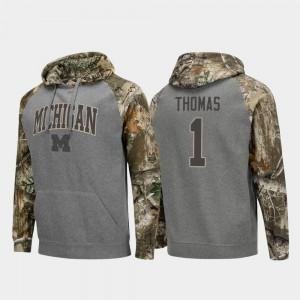 For Men #1 Ambry Thomas Michigan Hoodie Realtree Camo Raglan College Football Charcoal 884209-757