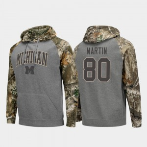 Oliver Martin Michigan Hoodie Mens Charcoal #80 Realtree Camo Raglan College Football 761374-571