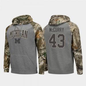 Jake McCurry Michigan Hoodie Mens Charcoal #43 Raglan College Football Realtree Camo 899672-564