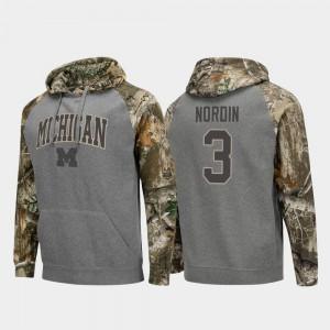 Men's Charcoal Quinn Nordin Michigan Hoodie #3 Realtree Camo Raglan College Football 656751-209