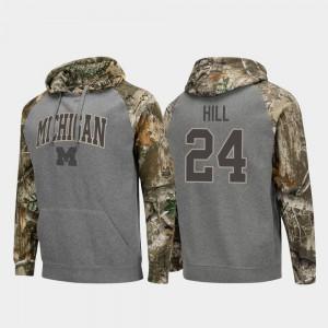 #24 Charcoal Lavert Hill Michigan Hoodie Realtree Camo Men Raglan College Football 733492-390