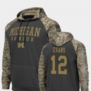 Charcoal United We Stand Chris Evans Michigan Hoodie Colosseum Football Men's #12 975069-878