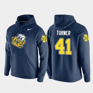 Vault Logo Club Pullover #41 Christian Turner Michigan Hoodie Men Navy 772500-655
