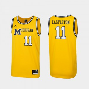 Replica Mens 1989 Throwback College Basketball #11 Maize Colin Castleton Michigan Jersey 264157-290