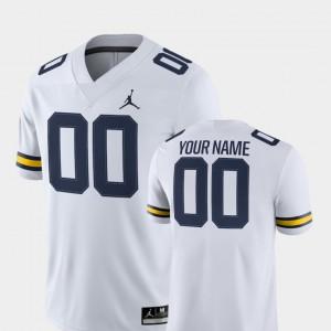 Mens #00 College Football 2018 Game Michigan Customized Jerseys White 768894-937