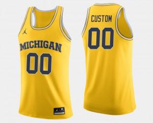 Michigan Custom Jersey Maize College Basketball #00 Men 608775-209