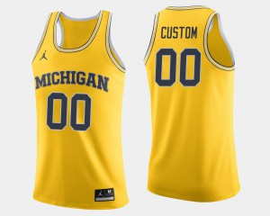 Michigan Custom Jerseys Maize College Basketball Men's #00 680058-536