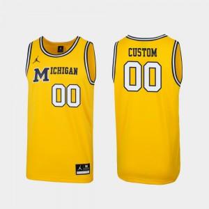 #00 1989 Throwback College Basketball Michigan Custom Jersey Men Replica Maize 985391-792