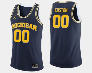 For Men College Basketball Navy #00 Michigan Custom Jersey 228190-552