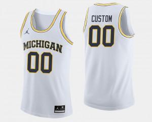 White Men's Michigan Custom Jerseys College Basketball #00 162544-680