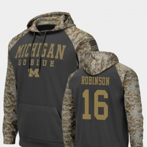 Men Charcoal United We Stand Colosseum Football Denard Robinson Michigan Hoodie #16 320396-828