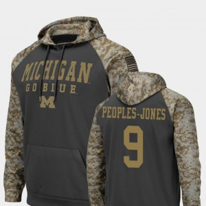 Colosseum Football United We Stand For Men's Donovan Peoples-Jones Michigan Hoodie Charcoal #9 162606-688