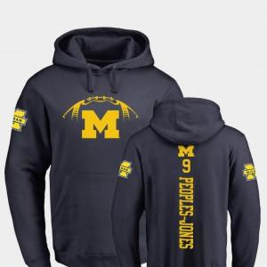 Navy #9 Backer Donovan Peoples-Jones Michigan Hoodie College Football For Men's 689676-391
