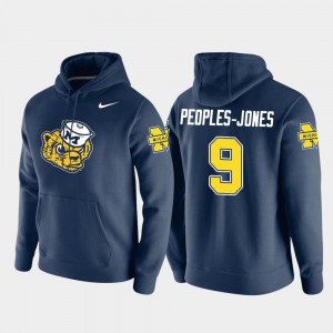 Donovan Peoples-Jones Michigan Hoodie #9 Navy Vault Logo Club For Men Pullover 203935-602