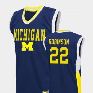Duncan Robinson Michigan Jersey #22 Fadeaway College Basketball Blue Mens 447675-496