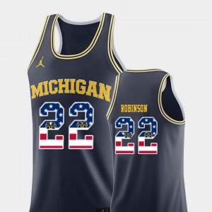 Navy USA Flag College Basketball For Men #22 Duncan Robinson Michigan Jersey 602597-362