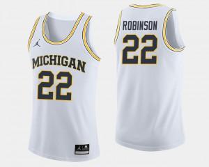 Men's White Duncan Robinson Michigan Jersey #22 College Basketball 601559-497