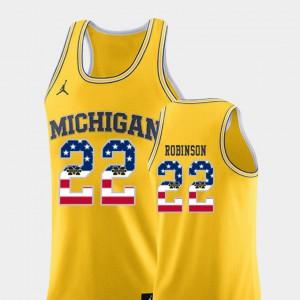 College Basketball #22 Yellow Duncan Robinson Michigan Jersey Men's USA Flag 873916-303