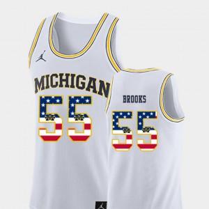 White #55 Mens College Basketball USA Flag Eli Brooks Michigan Jersey 285868-910