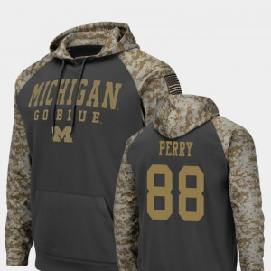 United We Stand Colosseum Football For Men Charcoal #88 Grant Perry Michigan Hoodie 507726-327