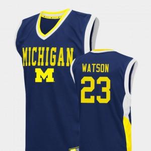 #23 For Men College Basketball Fadeaway Blue Ibi Watson Michigan Jersey 129951-428
