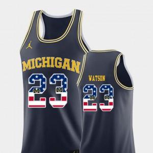 USA Flag #23 Navy College Basketball Men Ibi Watson Michigan Jersey 965073-202
