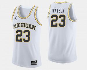 #23 White Men's Ibi Watson Michigan Jersey College Basketball 319892-791