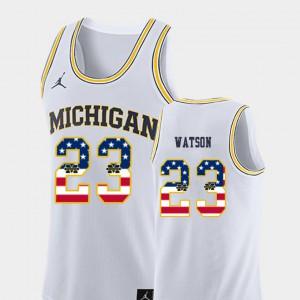 #23 White USA Flag For Men Ibi Watson Michigan Jersey College Basketball 618357-496