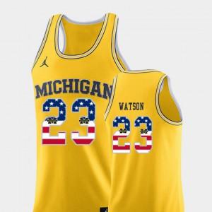 Yellow Ibi Watson Michigan Jersey Mens #23 College Basketball USA Flag 443049-741
