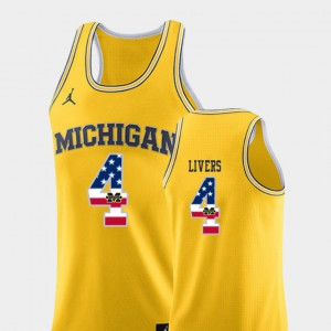 College Basketball Isaiah Livers Michigan Jersey For Men Yellow #4 USA Flag 480690-448