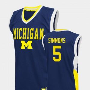 Fadeaway Blue #5 College Basketball For Men Jaaron Simmons Michigan Jersey 498604-890