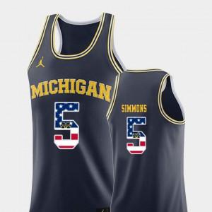 #5 College Basketball Jaaron Simmons Michigan Jersey USA Flag Navy Men 699473-783